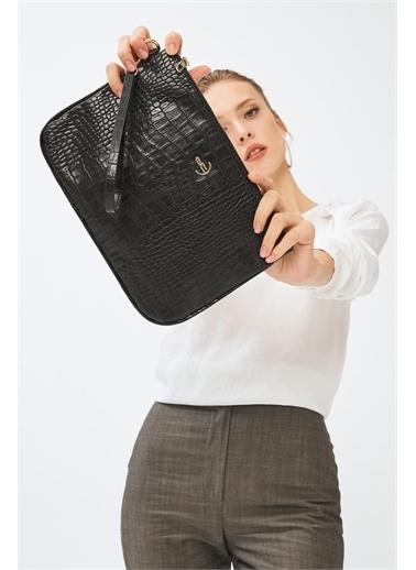 Deri Company Kadın Basic Clutch Çanta Kroko Timsah Desen Siyah 214002 Siyah